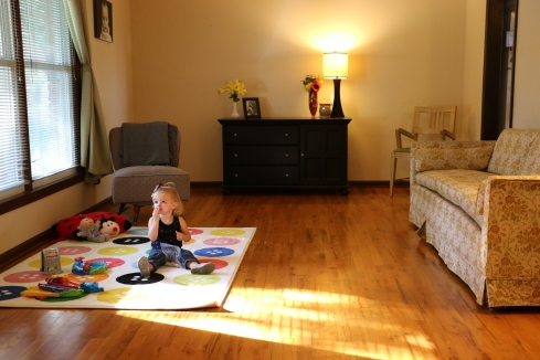 My clean living room. Cleaned up the baby a little too!