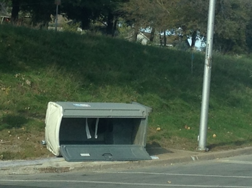 Porta Potty blown over